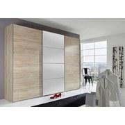 Schwebetürenschrank Ernie 270 cm Eiche/spiegel - Eichefarben, MODERN, Glas/Holzwerkstoff (270/210/65cm)