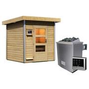Sauna Outdoor Dijon mit Ext. Steuerung 196x228x196 cm - Naturfarben, MODERN, Holz (196/228/196cm) - Karibu