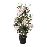 Kunstpflanze Rosenbusch H: 112 cm Rosa - Rosa/Grün, Trend, Kunststoff (112cm) - MID.YOU