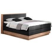 Boxspringbett mit Topper + Bettkasten 160x200cm Moneta - Eichefarben/Schwarz, MODERN, Holz/Textil (160/200cm) - MID.YOU
