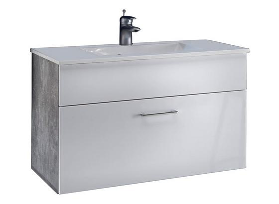 Waschbecken mit Unterschrank Splash B: 80cm Weiß + Hellgrau - Hellgrau/Weiß, Design, Holzwerkstoff/Stein (80/50/46cm)