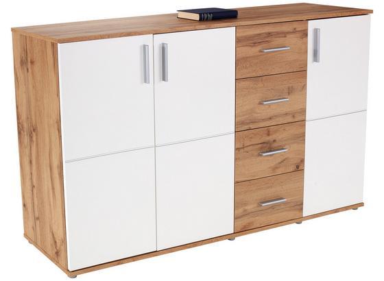 Komoda Ina 05 - bílá/barvy dubu, Moderní, kompozitní dřevo (175,6/95,2/38,3cm)