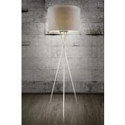 Stehlampe Paco Grau Dreibeinig mit Textil-Schirm - Grau/Nickelfarben, Basics, Kunststoff/Textil (62/160cm)