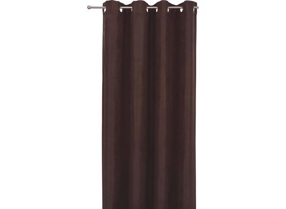 Záves S Krúžkami Velours -top- - tmavohnedá, Moderný, textil (140/245cm) - Mömax modern living