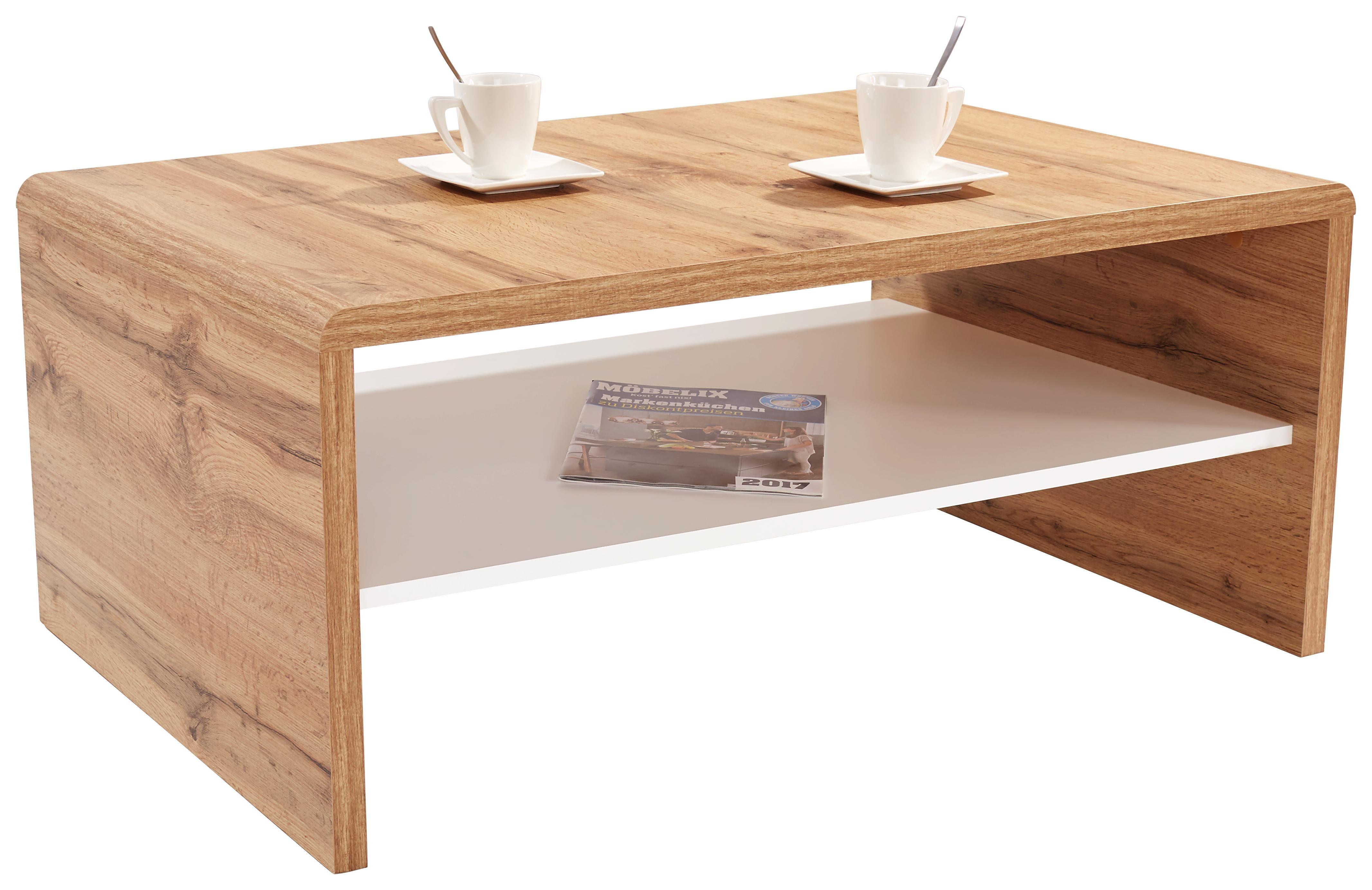 Konferenční Stolek Cala Luna - bílá/tmavě hnědá, Moderní, kompozitní dřevo (100/40/59cm)