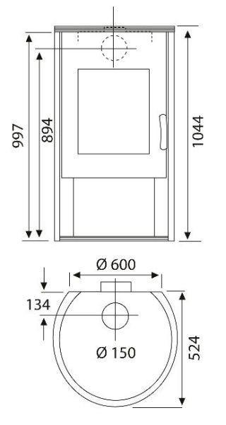 Kaminofen Rona Stahl - Grau, MODERN, Metall (60,0/104,4/52,4cm) - WAMSLER