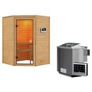 Bio-Sauna Bordeaux mit externer Steuerung - Naturfarben, MODERN, Holz (146/198/146cm) - Karibu