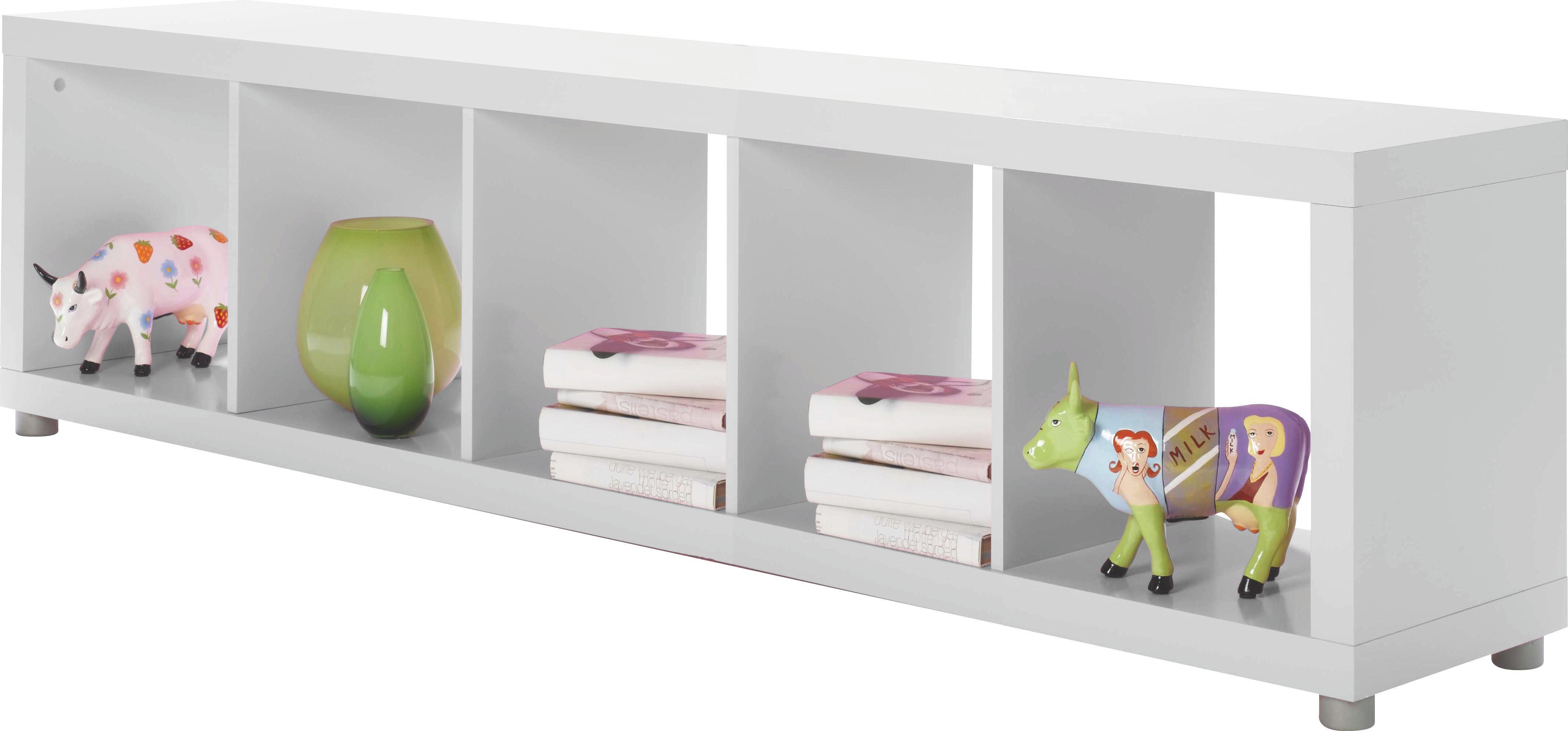 Regál Aron 5 - biela, Moderný, drevený materiál (190,4/46,8/35cm)