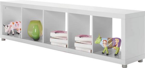Regál Aron 5 - bílá, Moderní, dřevěný materiál (190,4/46,8/35cm)