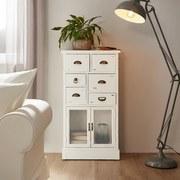 Komoda Lewis - biela, Moderný, kov/drevo (60/33/112cm) - MODERN LIVING