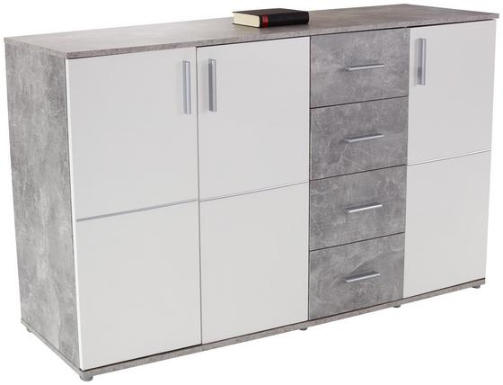 Kommode Ina 05 - Weiß/Grau, MODERN, Holzwerkstoff (175,6/95,2/38,3cm)