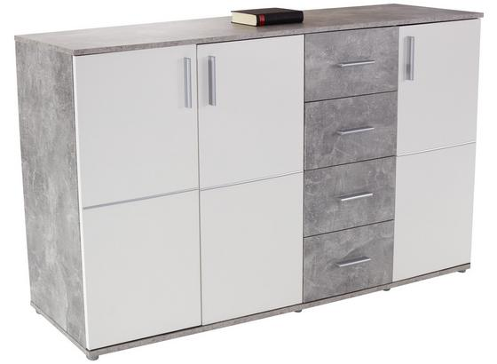 Kommode Ina05 B:176cm Beton Optik/ Weiß Dekor - Weiß/Grau, MODERN, Holzwerkstoff (175,6/95,2/38,3cm)