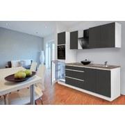 Küchenblock Premium B: 270 cm Grau Hgl - Weiß/Braun, MODERN, Holzwerkstoff (270cm) - MID.YOU