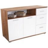 Komoda Roma1, 3 Laden, 2 Tüen - bílá/barvy dubu, Moderní, dřevěný materiál (138/80/45cm)