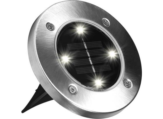 LED-disk Lights 4er Set - Silberfarben/Schwarz, MODERN, Kunststoff/Metall (11,5/2cm) - Mediashop