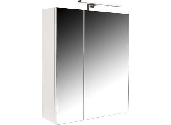 Skrinka So Zrkadlom Fiola Sps 55 - Cz/sk - biela, Konvenčný, kompozitné drevo/sklo (50/60/14,2cm)
