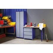 Werkbankset Small 201 cm Grau/blau - Blau/Buchefarben, KONVENTIONELL, Holz/Metall (201/187/60cm)