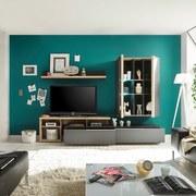 Obývacia Stena Tore - farby dubu/tmavosivá, Moderný, drevený materiál (258-310/190/48cm)