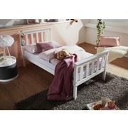 Kinder-/Juniorbett Kiefer Massiv / Weiß 80x160 cm - Weiß/Braun, Basics, Holz (80/160cm) - Carryhome