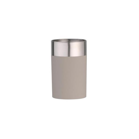 Zahnputzbecher Lena - Taupe, MODERN, Kunststoff/Metall (7/11cm)