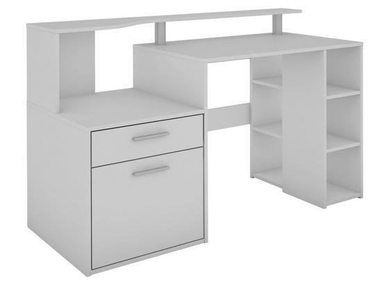 Computertisch mit Stauraum B 140cm H 89cm Larry, Weiß - Weiß, MODERN, Holzwerkstoff (140/89/55cm) - Livetastic