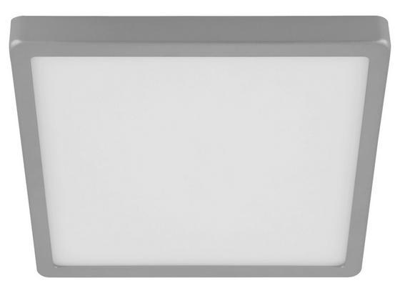 Aufbauleuchte Molay B: 28,5 cm - Silberfarben/Weiß, Basics, Kunststoff/Metall (28,5/28,5/2,8cm)