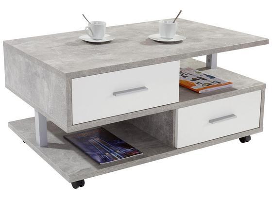 Konferenční Stolek Quattro - šedá/bílá, Moderní, kompozitní dřevo (105/45/60cm)
