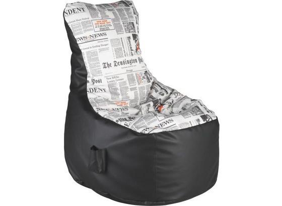 Sedací Vak Cortona - čierna/biela, Konvenčný, textil (85/100/85cm)