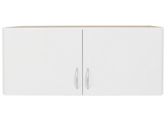 Aufsatzschrank Karo B:91cm Alpinweiß Dekor - Weiß, KONVENTIONELL, Holz (91/39/54cm)