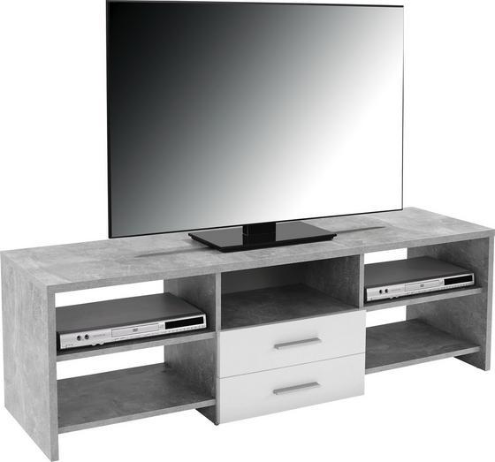 Médiaállvány Tico - Szürke/Fehér, modern, Fa (150/45/40cm)