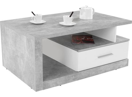 Couchtisch Holz mit Lade+ Ablagefächer Iguan, Betonoptik - Weiß/Grau, MODERN, Holzwerkstoff (110/45/67cm)