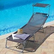 Sonnenliege mit verstellbaren Sonnendach 189x60cm Lea - Anthrazit/Silberfarben, MODERN, Textil/Metall (189/34/60cm) - Greemotion
