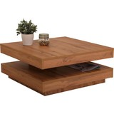 Funktionaler Couchtisch Ben mit drehbarer Tischplatte - Eichefarben/Weiß, MODERN, Holzwerkstoff (78/34/78cm)