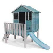 Spielhaus 27700 165x195 cm Kiefer Massiv - Weiß/Hellblau, Basics, Holz (165/195/136cm)