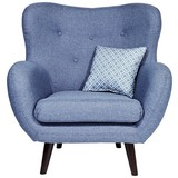 Fernsehsessel Viborg - Blau, LIFESTYLE, Textil (91/104/80cm)