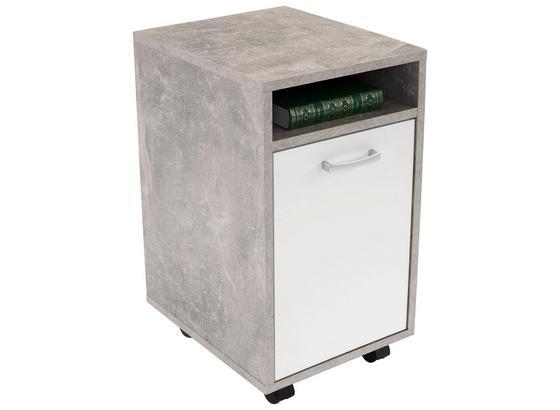 Kontajnér Na Kolieskach Laurenc - sivá/biela, Moderný, kompozitné drevo/plast (33/59,5/38cm)