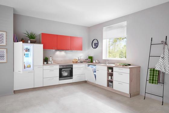 Eckküche win orange weiß holzwerkstoff 335 275cm express