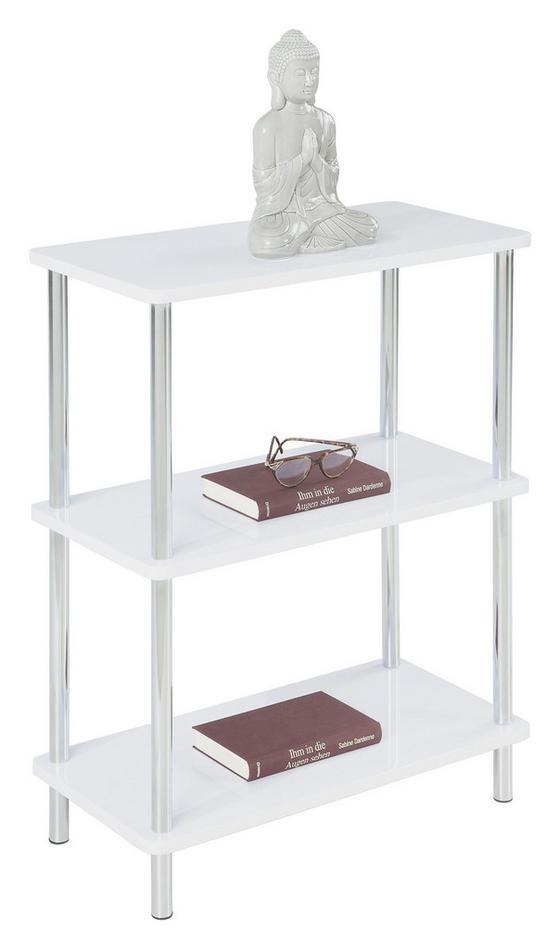 Polc Tim - Króm/Fehér, modern, Faalapú anyag/Fém (60/75/30cm)