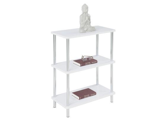 Regál Tim - biela/chrómová, Moderný, kov/kompozitné drevo (60/75/30cm)