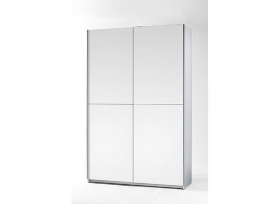 Schwebetürenschrank 125cm Fast, Weiß Dekor - Weiß, KONVENTIONELL, Holzwerkstoff (125/195,5/38cm)
