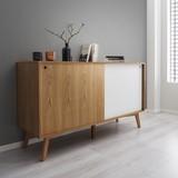 Komoda Jillian - bílá/barvy jasanu, Moderní, dřevo (140/80/45cm) - Mömax modern living