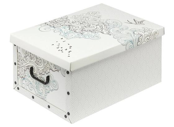 Aufbewahrungsbox Marie mit Deckel - 30 Liter - Blau/Schwarz, KONVENTIONELL, Karton/Kunststoff (50/40/25cm) - Homezone