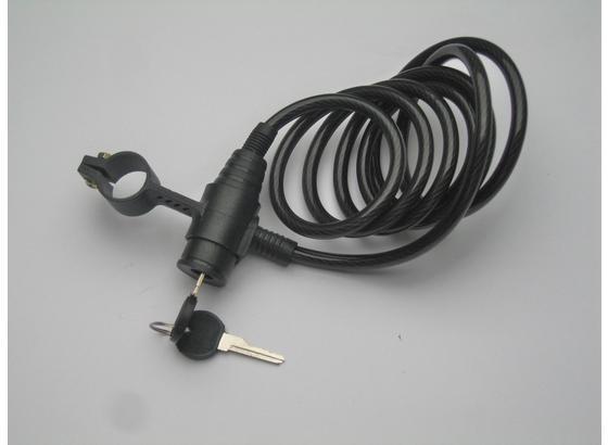 Fahrrad-Spiralschloss mit Schlüssel - Schwarz, KONVENTIONELL, Metall (0,8/185cm)
