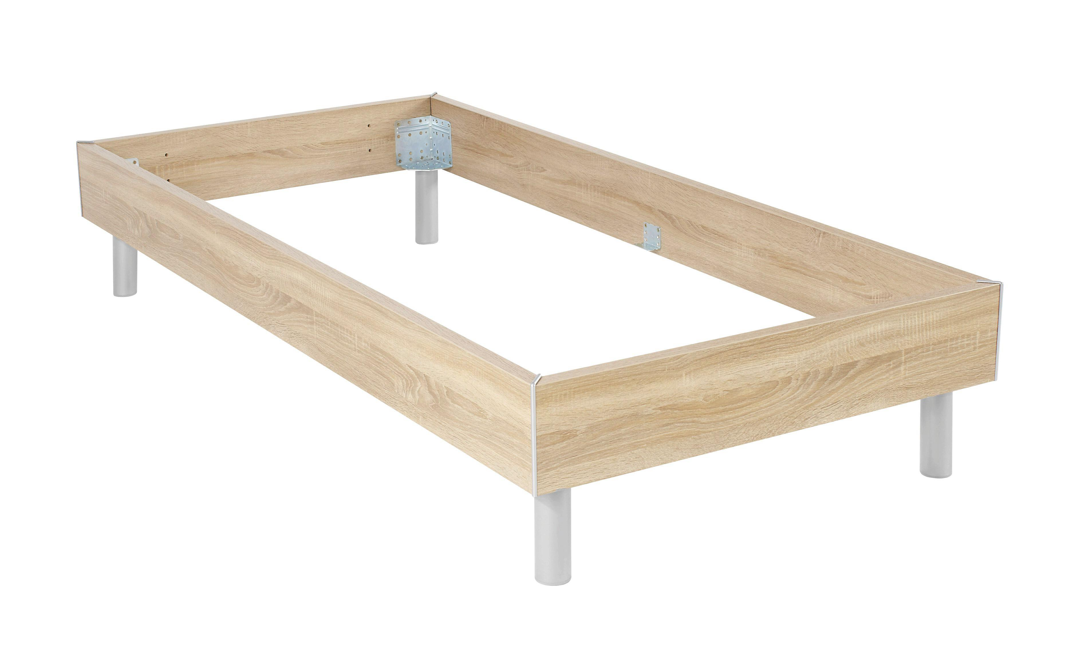 Futonbettrahmen Belia, 120x200 cm - Alufarben, KONVENTIONELL, Holz (120/200cm)