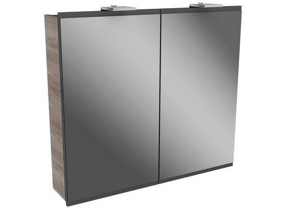 Spiegelschrank Lima B:80cm Grau/esche Dekor - Eschefarben, MODERN, Glas/Holzwerkstoff (80/73/15,5cm) - Fackelmann