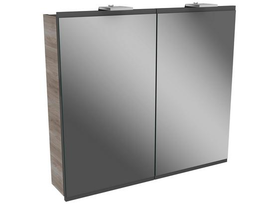 Spiegelschrank mit Türdämpfer + Led Lima B: 80cm, Grau+esche - Eschefarben, MODERN, Glas/Holzwerkstoff (80/73/15,5cm) - Fackelmann