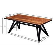 Couchtisch Holz mit Massiver Tischplatte, Sheesham/Schwarz - Sheeshamfarben/Schwarz, MODERN, Holz/Metall (115/60/45cm) - MID.YOU