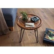 Couchtisch Rund mit Massiver Tischplatte, Sheesham/Schwarz - Sheeshamfarben/Schwarz, MODERN, Holz/Metall (45/45/40cm) - Livetastic