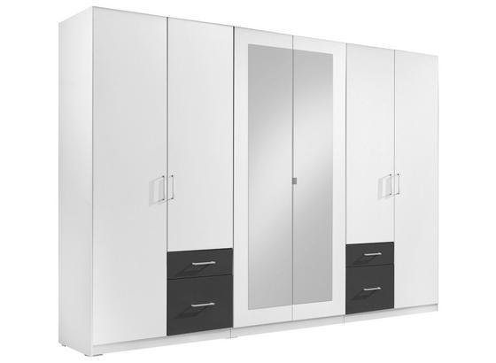 Drehtürenschränke mit Spiegel 270cm Fly, Weiß/ Graphit Dekor - Graphitfarben/Weiß, Design, Glas/Holzwerkstoff (270/210/58cm) - Carryhome