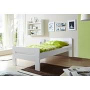 Bett Echtholz Massiv 100x200 Bert, Weiß - Weiß, Natur, Holz (100/200cm) - Livetastic